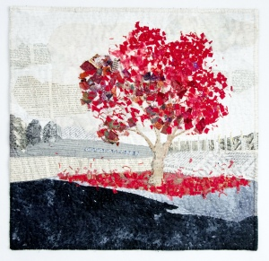 Martha Ressler,Spilled Red, Studio Art Quilt