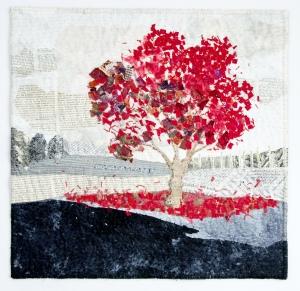 Martha Ressler,Spilled Red, Studio Art Quilt