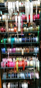 Ribbons at Button Emporium, on walking tour of downtown Portland.