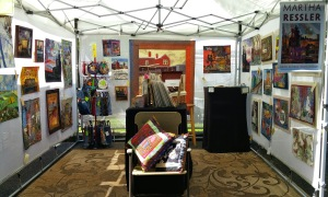 Martha Ressler booth at Mt. Gretna Outdoor Art Show, 2015