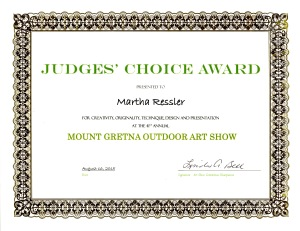 Judges' Choice Award, Mt. Gretna Outdoor Art Show