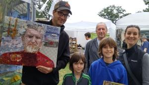 """""""John of Lawrenceville,"""" art quilt by Martha Ressler, Brett, and his family."""