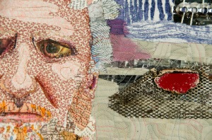 John of Lawrenceville Studio Art Quilt, fabric, papers, and found objects. 16.5 x 20.5-detail