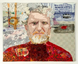 "Martha Ressler, Studio Art Quilt, John of Lawrenceville, 16.5"" x 20"" Fabrics, papers, and found objects."