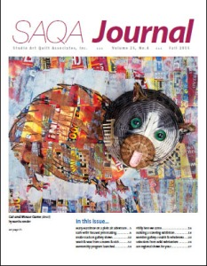 Cover of SAQA Journal, Fall 2015, with Cat and Mouse Game by Martha Ressler