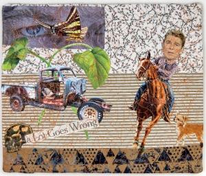 """Martha Ressler, A Lot Goes Wrong.  Art Quilt, 10.25 x 12.25"""""""