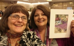 Myself and Heather Pregger, who bought my Spotlight Auction quilt