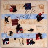 """Martha Ressler, Throw-away Nation, art quilt 24 x 24"""""""