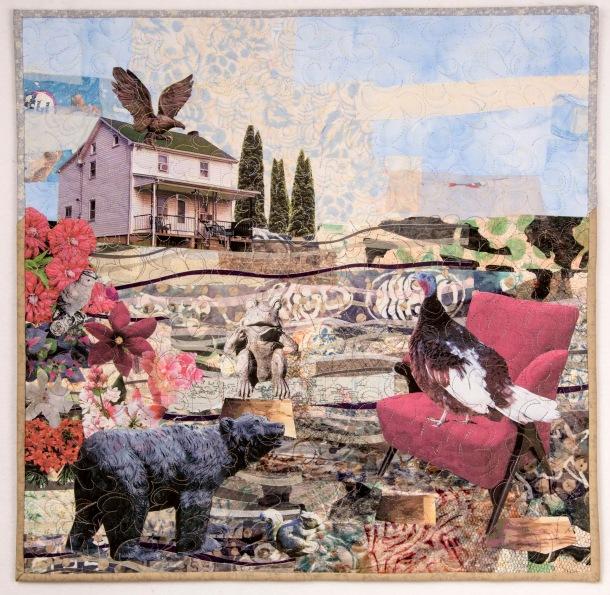 """Martha Ressler, Madame Chairperson, Art Quilt, 22.5 x 23"""""""