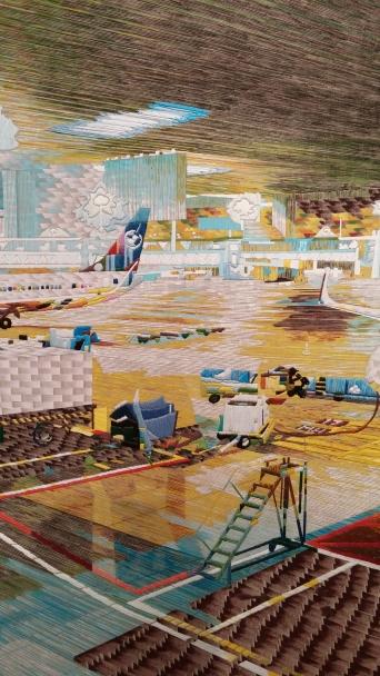 "Pauline MM Nijenhuis, Netherlands, Snellandschap Luchtweg (Fast landscape Airway, detail, canvas, acrylic, thread, 68 x 45.5"""
