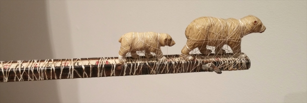 Sandra Jane Heard, Indigenous Expulsion, detail, wood, silk, vintage paper, found objects, 50 x 72 x 32""