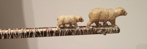 "Sandra Jane Heard, Indigenous Expulsion, detail, wood, silk, vintage paper, found objects, 50 x 72 x 32"""