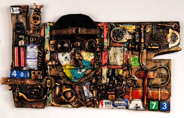 Julio Cepeda, The Aviator, found object assemblage, approx 16 x 20""