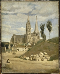 Corot, Chartres, 1830. Figure in foreground added 1872