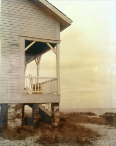 Vintage photo, house on the beach