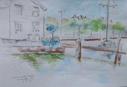 Martha Ressler, sketch of Community Dock, Ocracoke, NC