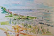 Martha Ressler, sketch of Springers Point, where Blackbeard hung out, Ocracoke, NO