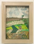 M Ressler Fields to Gogh, art quilt, 5 x 7""