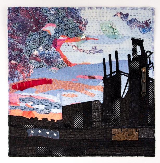 Silent Stacks-fiery sky 23 x 23 small