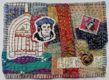 "Martha Ressler, Martin Luther, 7 x 9"" framed. Art Quilt with found objects and hand quilting."
