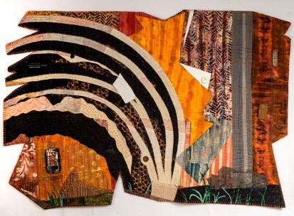 "Martha Ressler, Reconfiguring Drake's Drilling, art quilt, 36 x 20"""