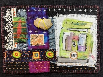 """Martha Ressler, Bessie, art quilt, 5 x 7"""""""