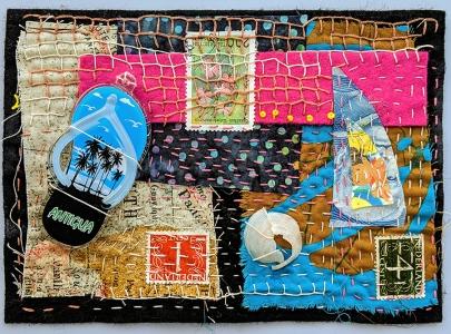 "Martha Ressler, Footprint in the Sand, art quilt, 5 x 7"""