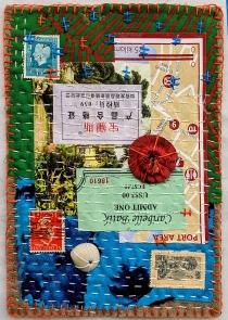 Martha Ressler, Found Along the Way, art quilt, 5 x 7