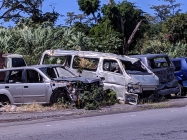 Cars wrecked by Hurricane Maria on Dominica.