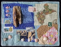 Martha Ressler,, Pirate Ship Wreck, art quilt, 8.5 x 11.5