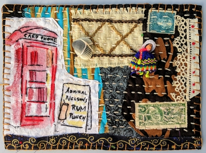 Martha Ressler, Rum Punch, art quilt, 5 x 7