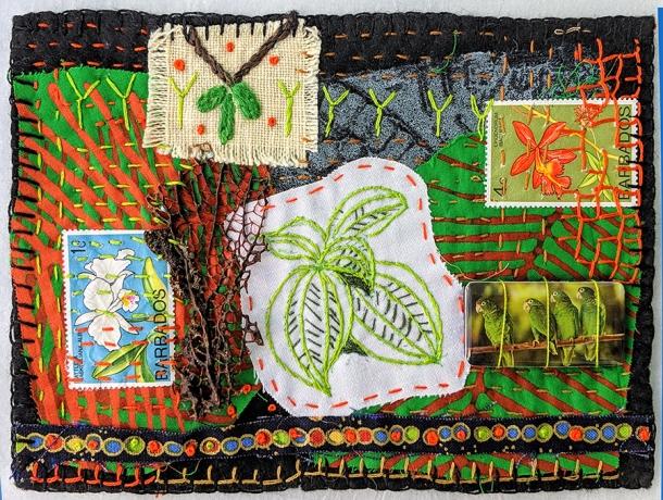 """The Rainforest, Martha Ressler, art quilt, 5 x 7"""""""